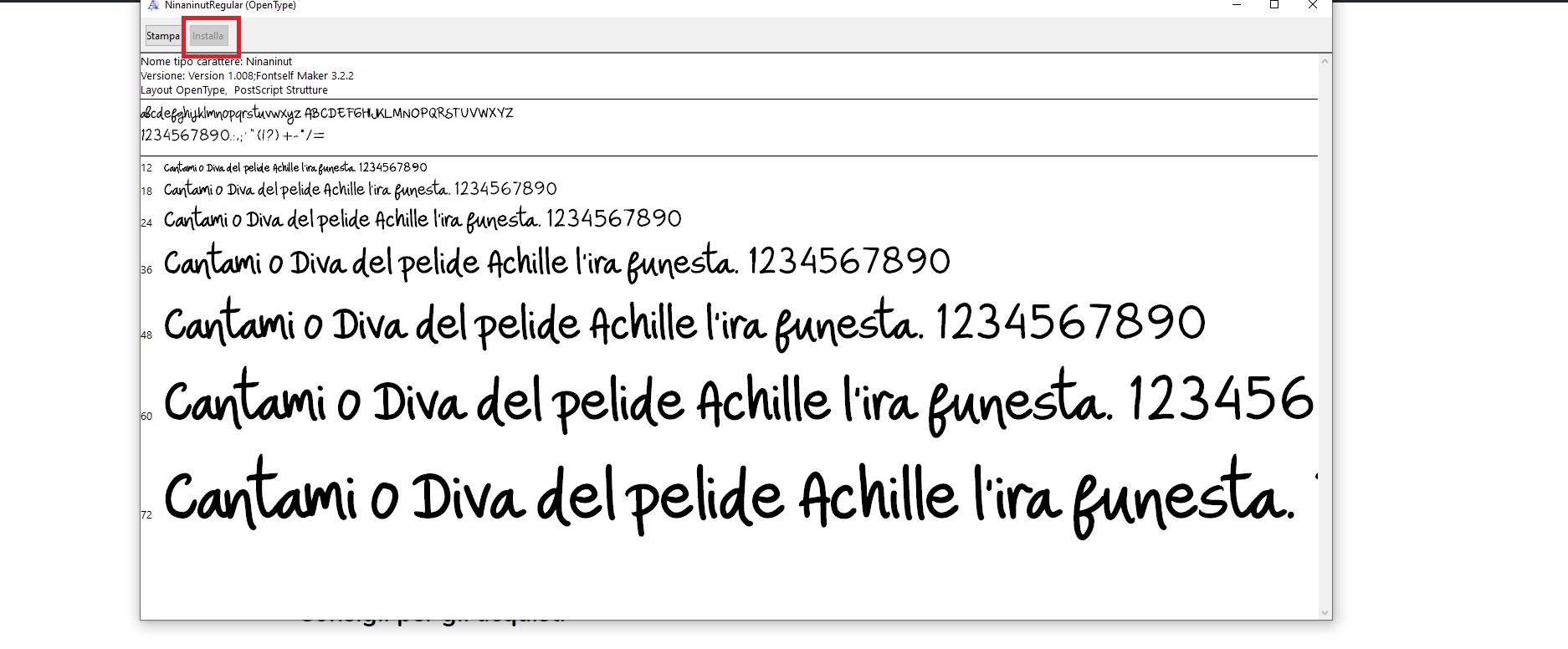 Installazione di un font