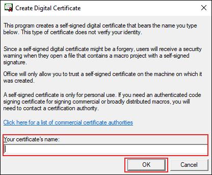 La casella in cui inserire il nome del certificato