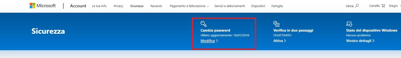 La voce che consente di cambiare la password