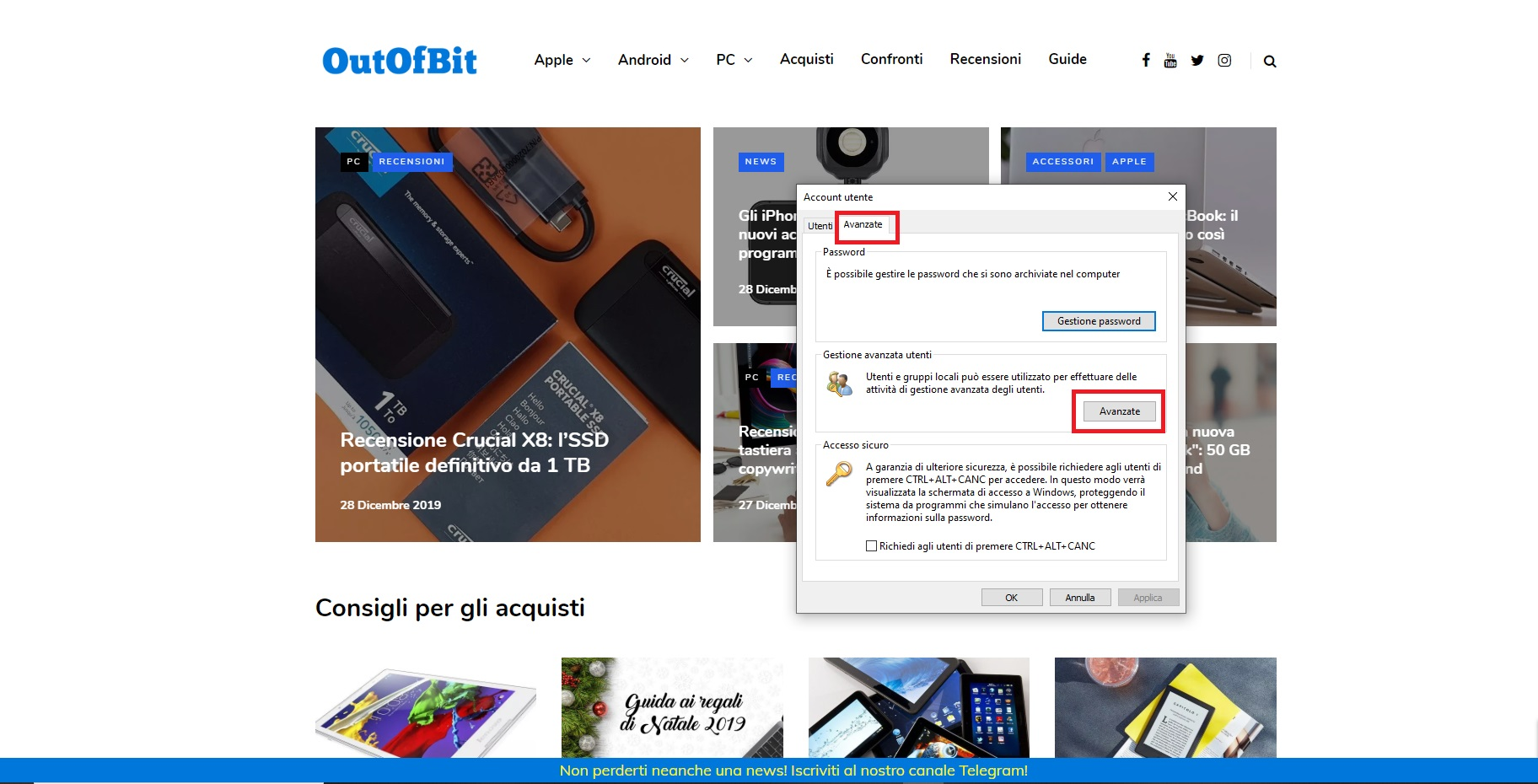 La finestra per apportare modifiche all'account
