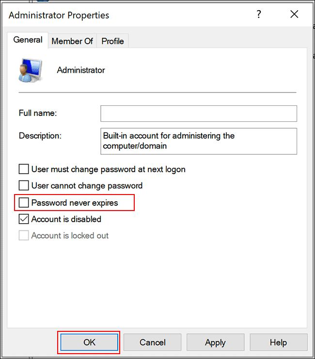 """Rimuovere la spunta da """"La password non scade mai"""""""