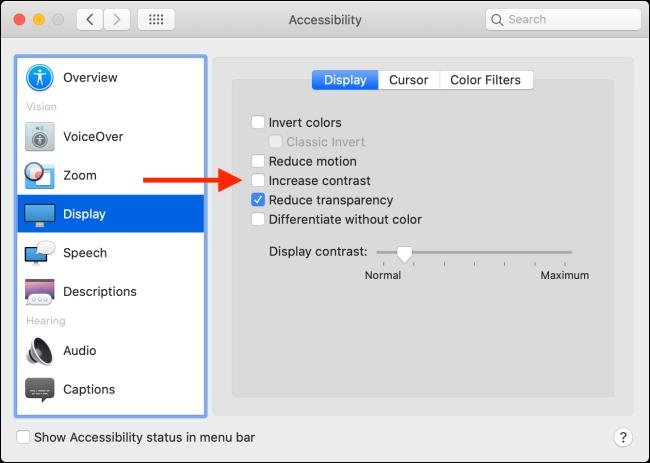 La voce Aumenta contrasto in Mac