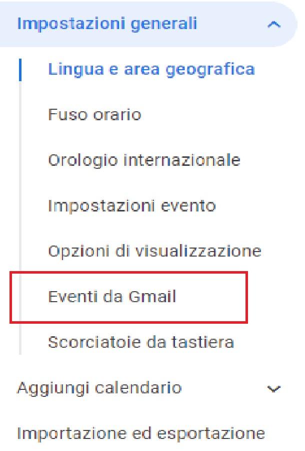 "Google Calendar: la voce ""Eventi da Gmail"""