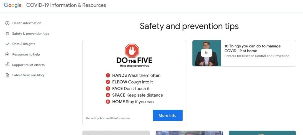 google coronavirus sito