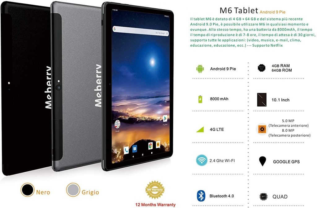 Meberry Tablet 10 Pollici specifiche hardware
