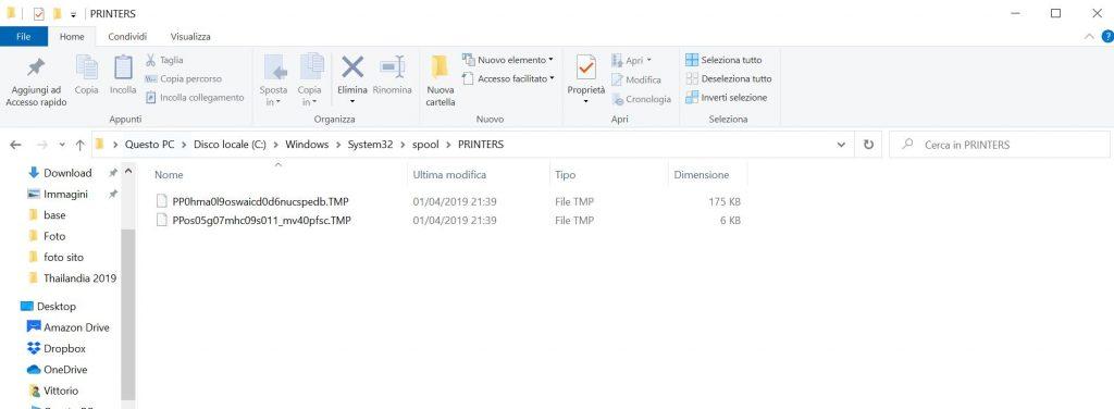 eliminare coda di stampa - step 5 - eliminare i file