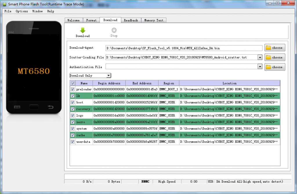 firmware update cubot - passaggio 1 - apertura flash tool