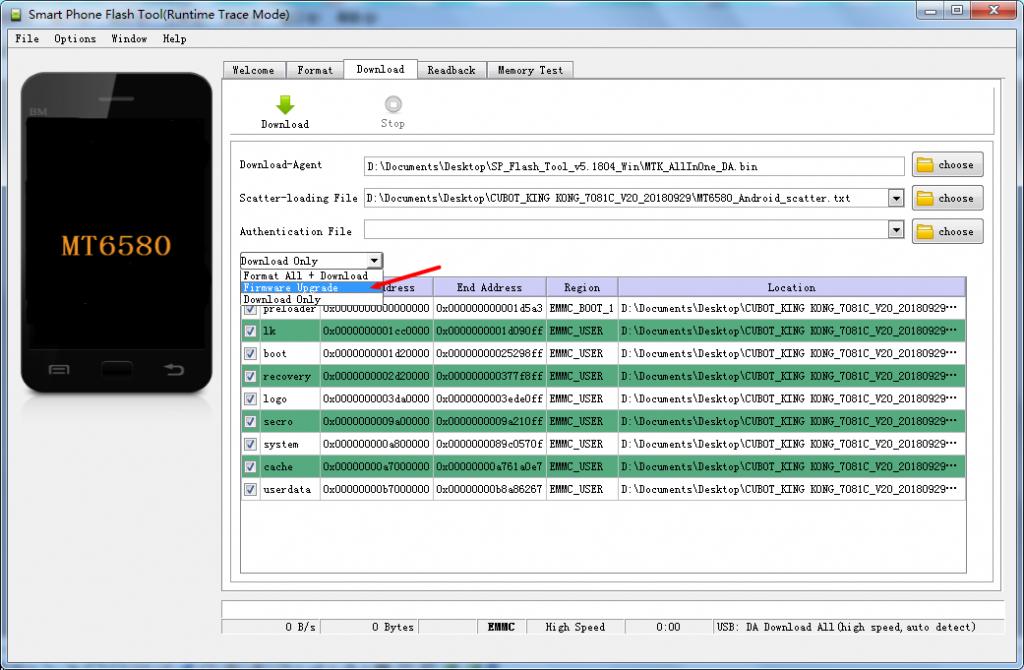 firmware update cubot - passaggio 4 - selezione firmware update
