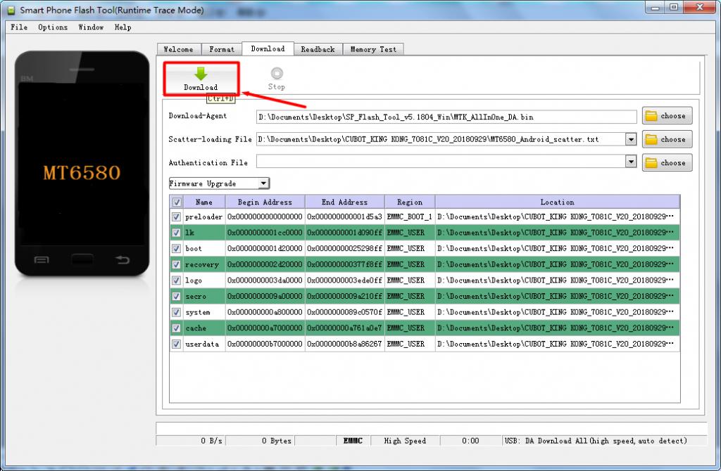 firmware update cubot - passaggio 6 - flash della rom di aggiornamento