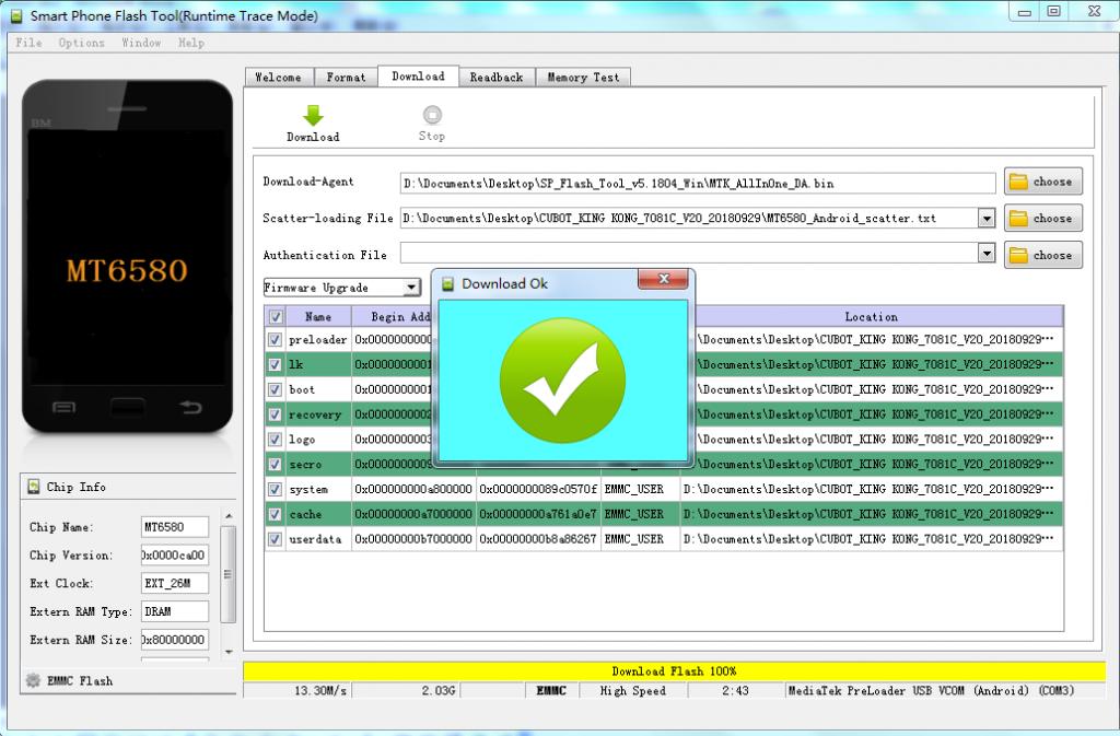 firmware update cubot - passaggio 7 - aggiornamento completato