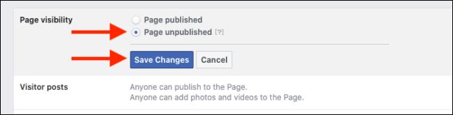 Nascondere una pagina Facebook