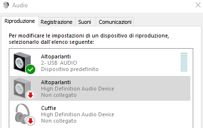 gestisci dispositivi audio