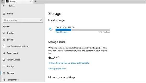 Spazio di archiviazione PC