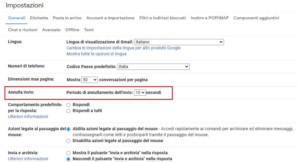 Annulla invio Gmail