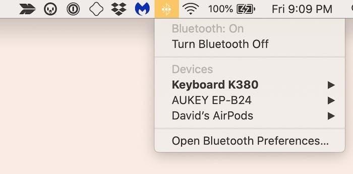 La sezione Bluetooth in un Mac
