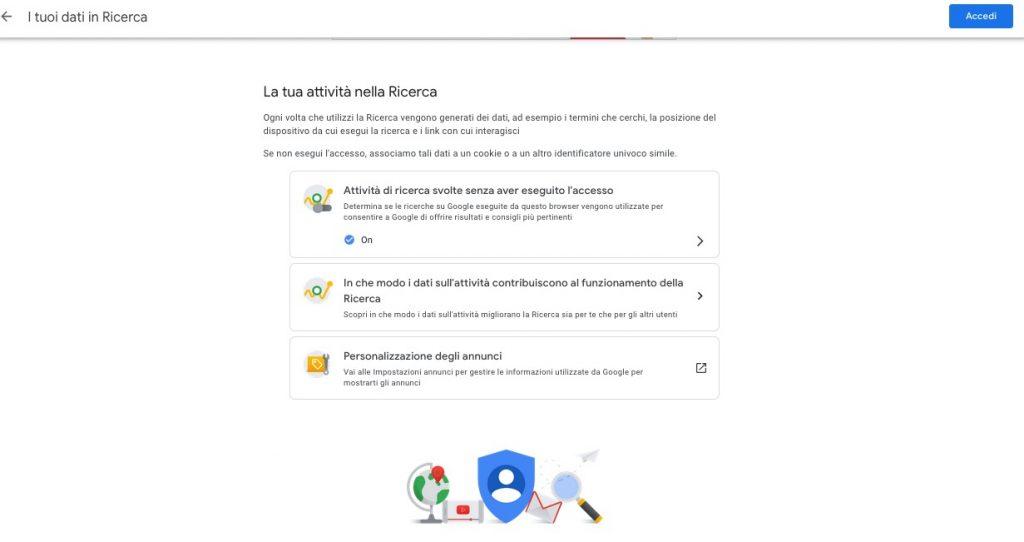 Ricerche su Google privacy