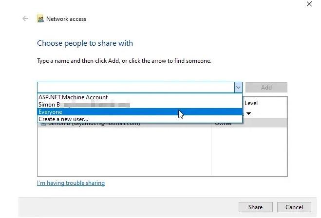 Cartella pubblica su Windows