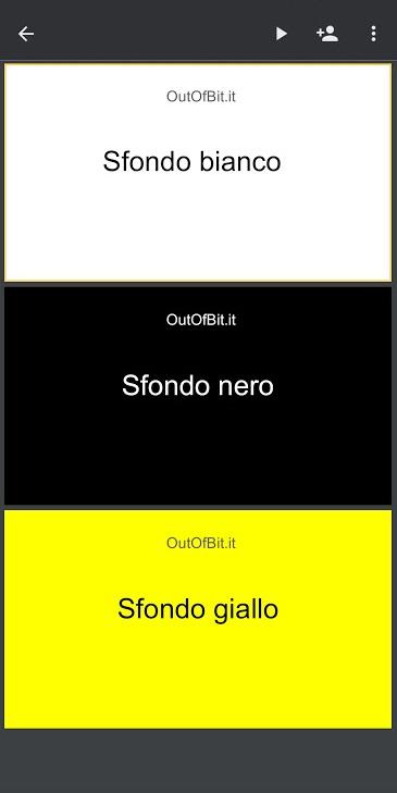 App Presentazioni tema scuro