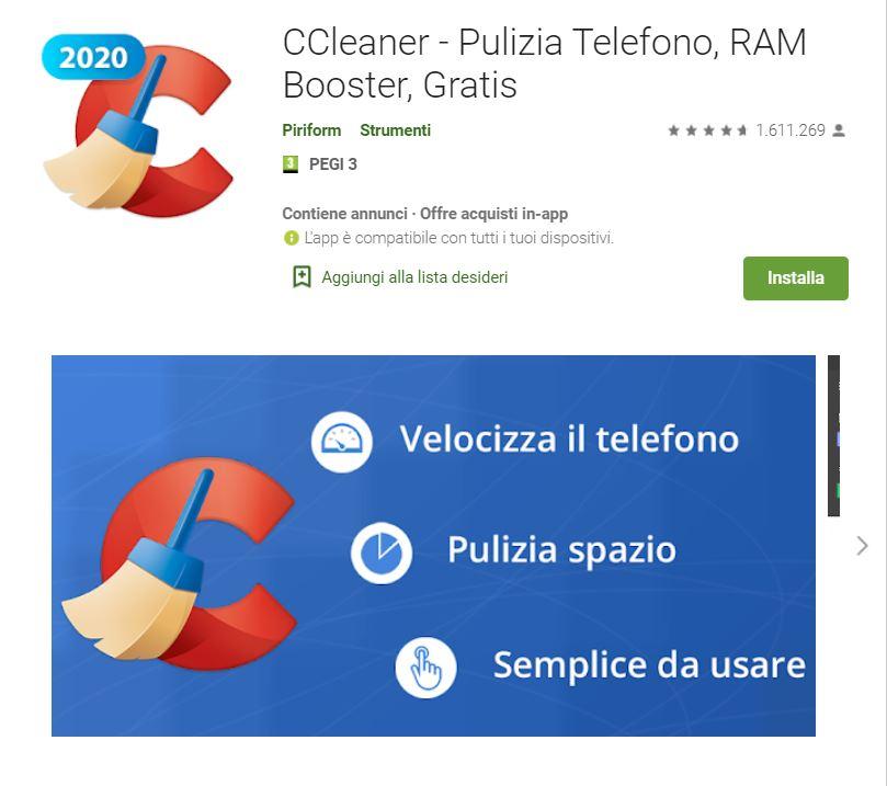 ccleaner - app per liberare spazio sul tuo smartphone Android