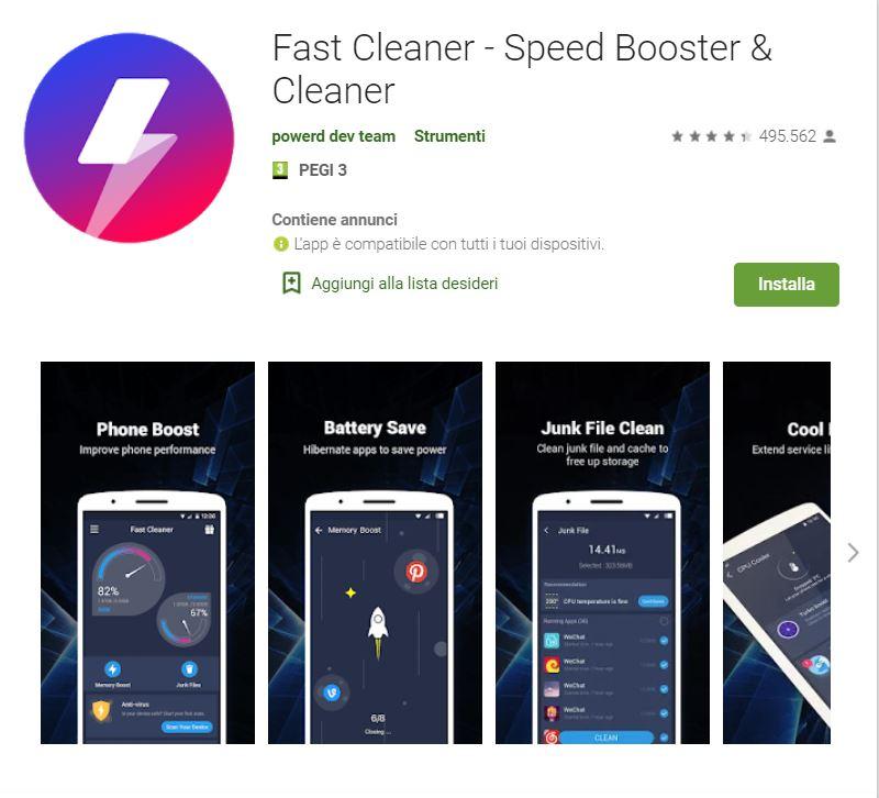 fast cleaner - app per liberare spazio sul tuo smartphone Android