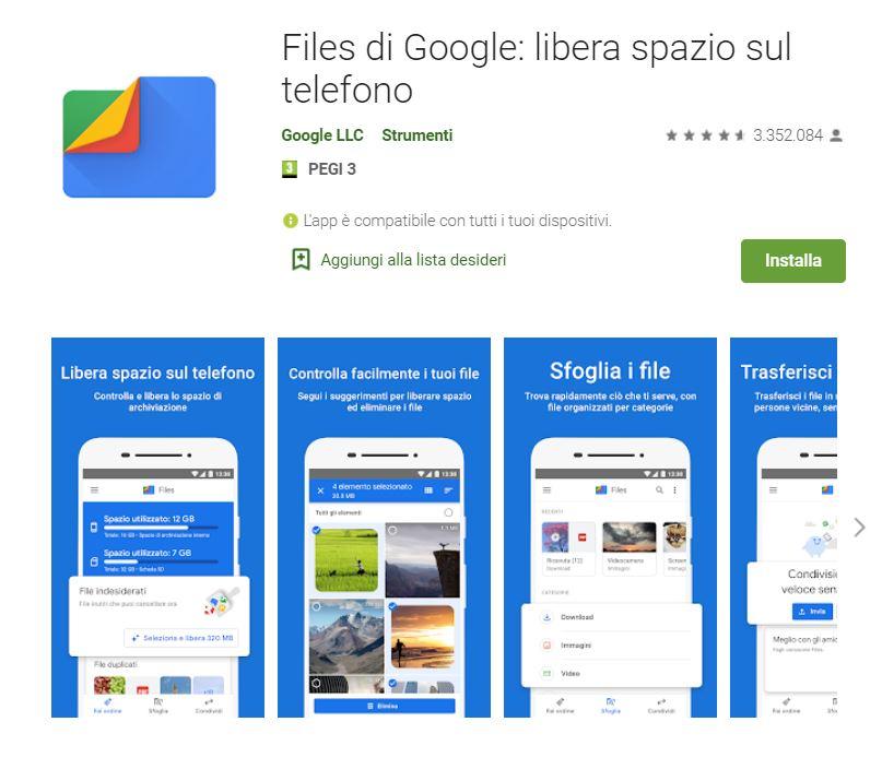 files go - app per liberare spazio sul tuo smartphone Android