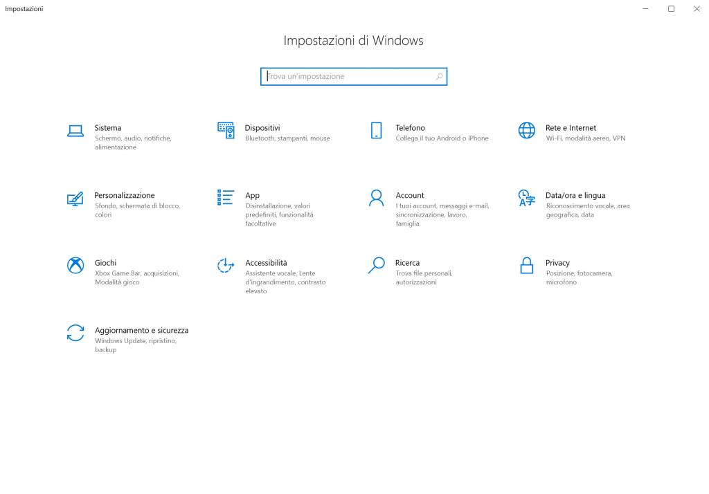 registrazione schermo windows 10 - passo 1 - impostazioni