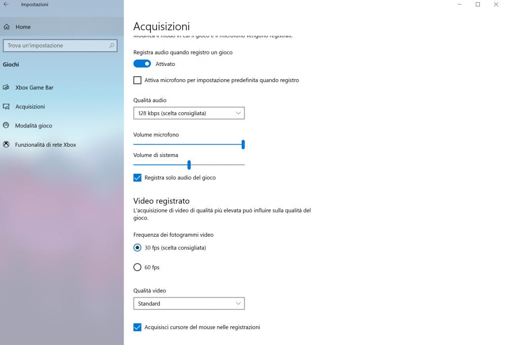 registrazione schermo windows 10 - passo 3 - acquisizioni