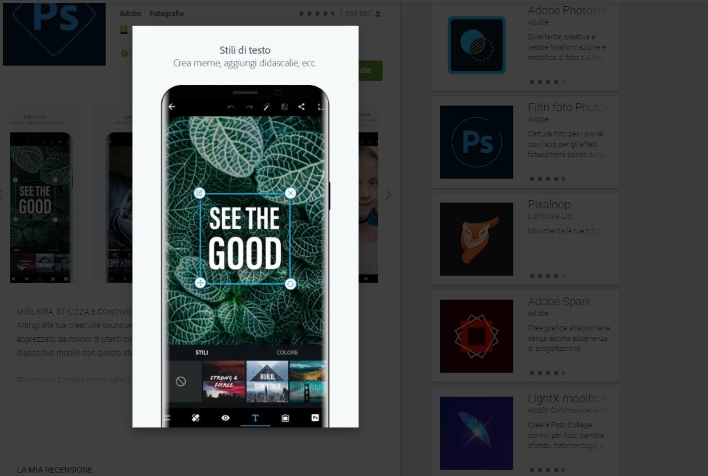 Un utente modifica una foto con Adobe Photoshop Express per smartphone