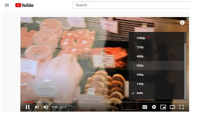 Youtube risoluzione