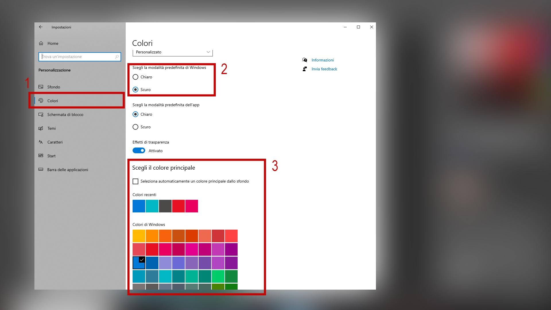 La schermata da cui è possibile modificare i colori di Windows