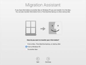 migration assistant da winodws a mac