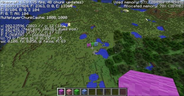 minecraft menu debug