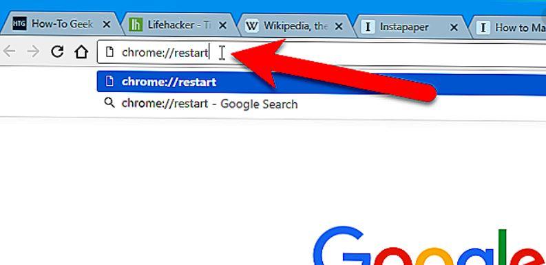 Creare collegamento per riavviare Chrome