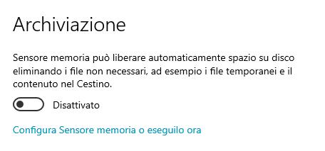 Sensore Memoria Windows 10