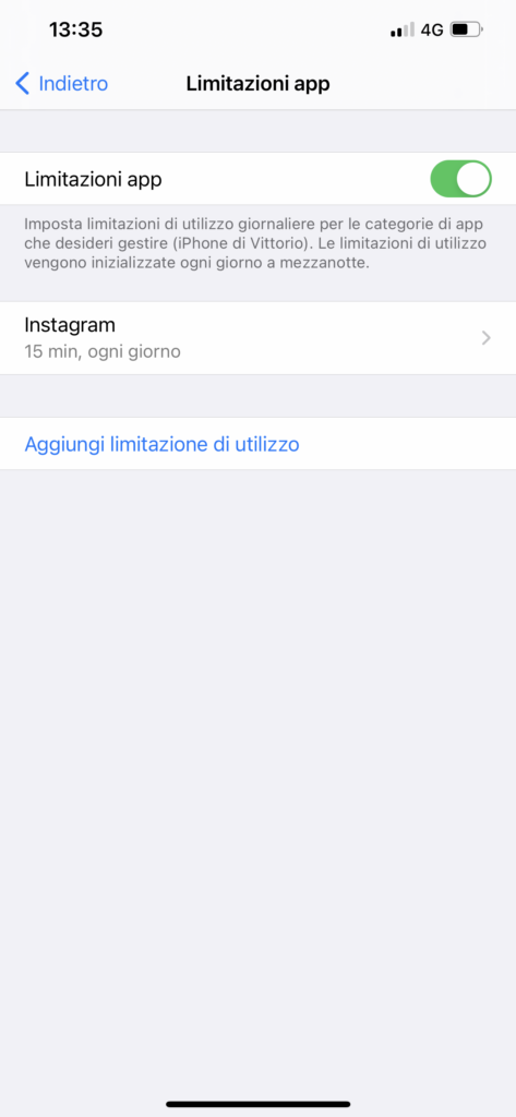 impostare un tempo massimo di utilizzo per le app su iphone