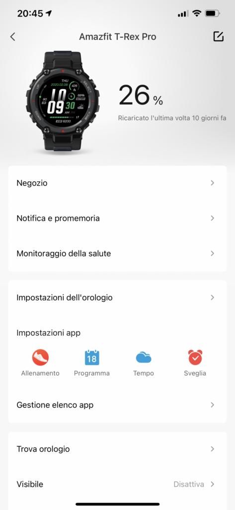 Amazfit T-Rex Pro - app zepp - batteria