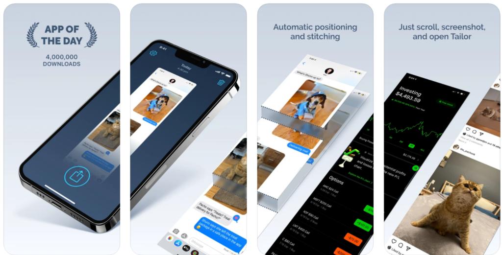 TAILOR - app per screenshot estesi su iphone