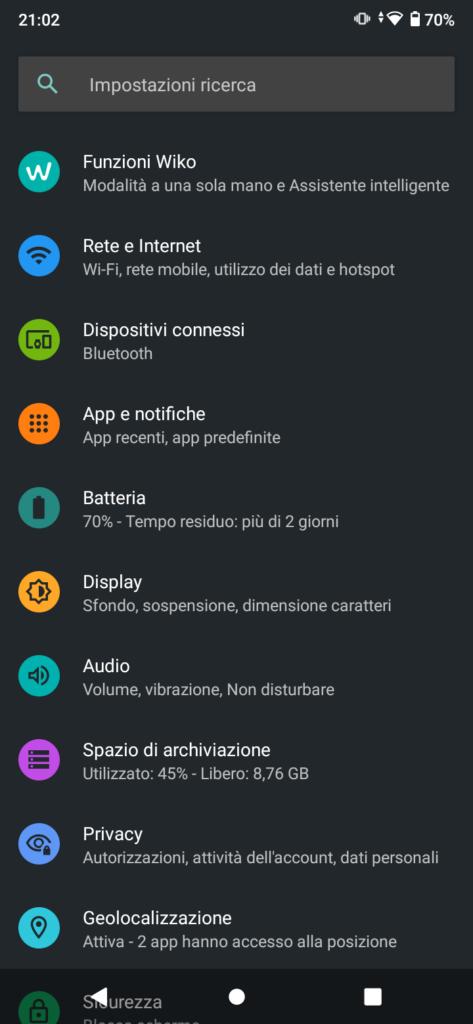 recensione wiko y62 scherma impostazioni