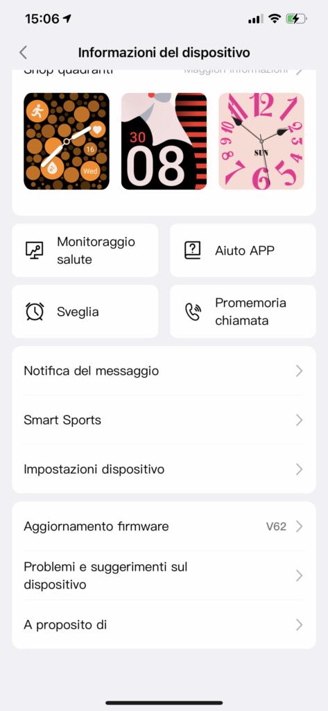 app very fit - impostazioni e personalizzazione
