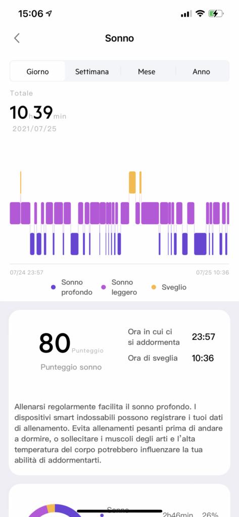 app very fit - rilevazione del sonno