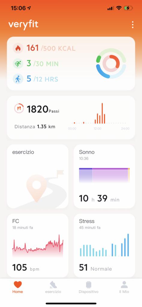 app very fit - schermata home
