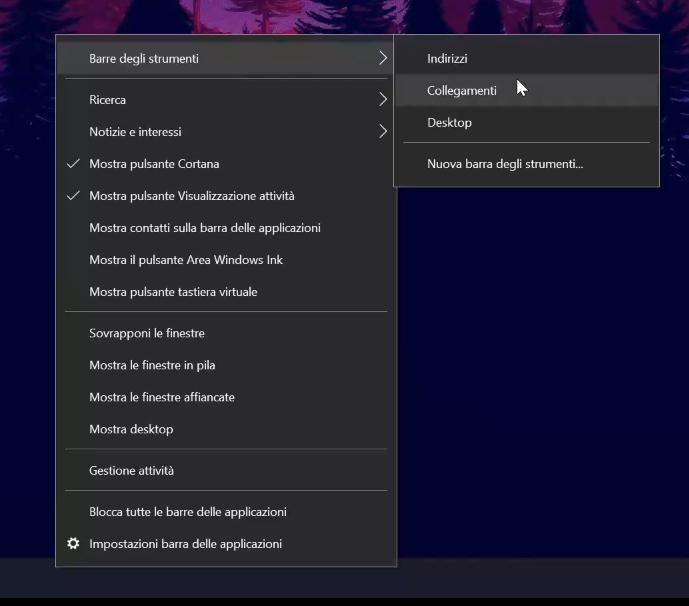 centrare le icone nella barra delle applicazioni di Windows 10 - attiviamo i collegamenti