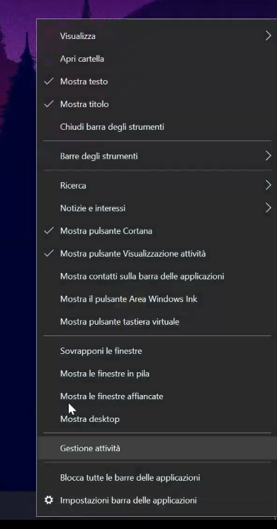 centrare le icone nella barra delle applicazioni di Windows 10 - attiviamo mostra testo e mostra titolo