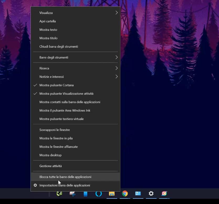 centrare le icone nella barra delle applicazioni di Windows 10 - blocchiamo la barra