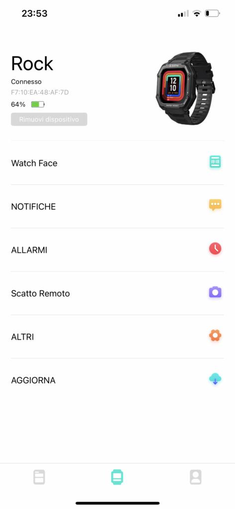 kospet rock - app da fit - impostazioni