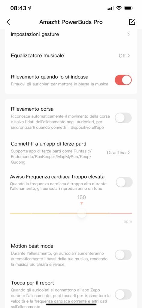 app zepp - Amazfit Powerbuds Pro - screenshot altre funzioni