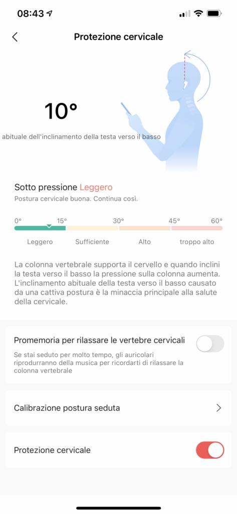 app zepp - Amazfit Powerbuds Pro - screenshot funzione protezione cervicale