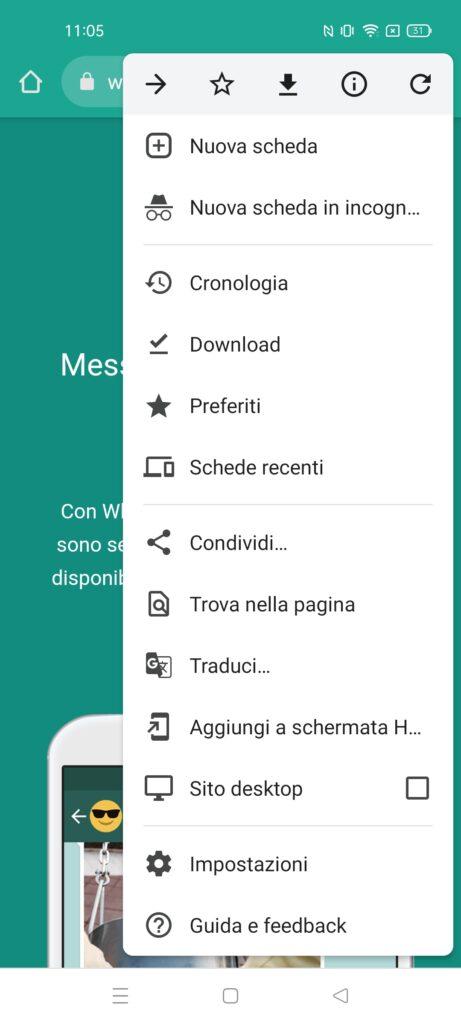 WhatsApp su 2 telefoni - passo 2 - whatsapp web in versione desktop