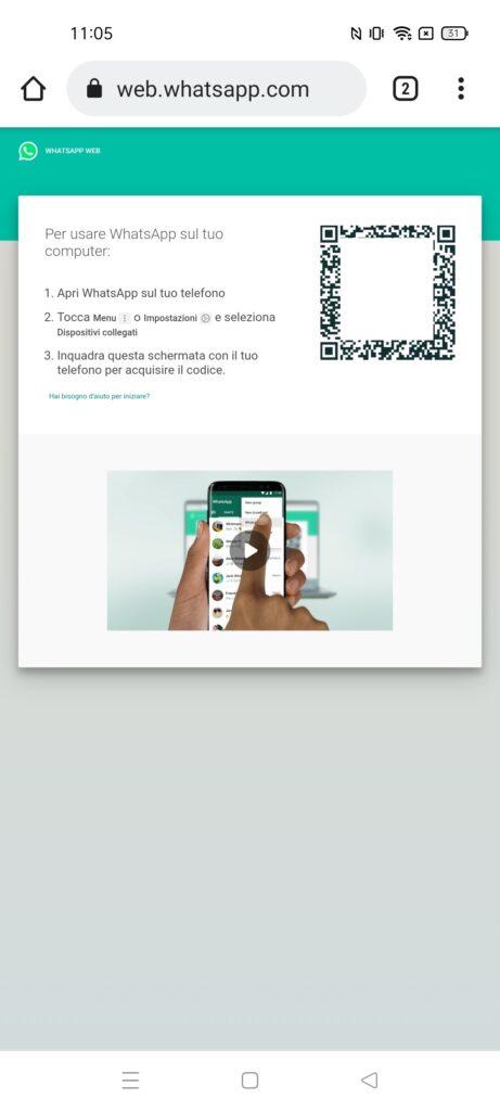 WhatsApp su 2 telefoni - passo 3 - whatsapp web - qr code