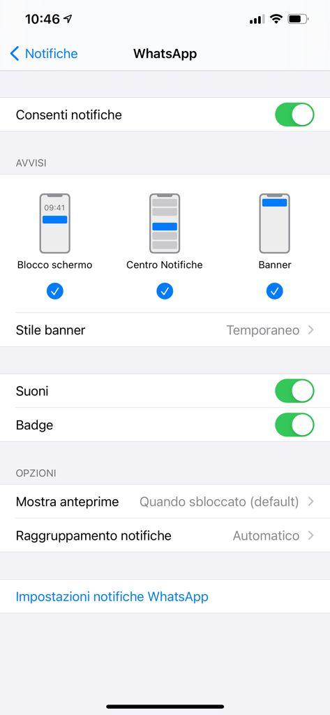 attivare notifiche di whatsapp su iphone